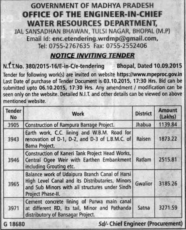 Tender notice for wbm road