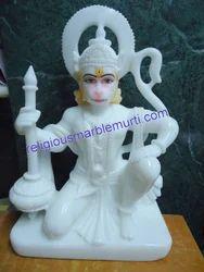 Hanuman Ji White Marble Murti
