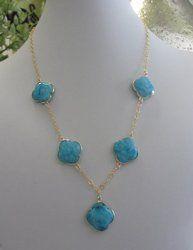 Turquoise Clover Shape Bezel Set Necklace