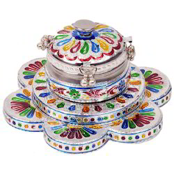 Meenakari Work Floral Pan Box with Serving Tray 329
