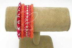 Chickraft Fabulous Thread Red And Orange Color Bangle