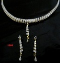 Ace White American Diamond Studded Necklace