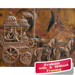 Arjun Rath Large Metal Wall Mural Of Religious Theme Indian Folk Art