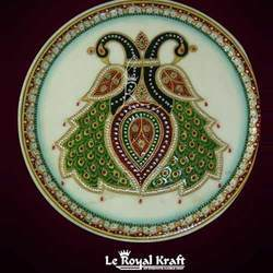 Marble Peacock Design Plates