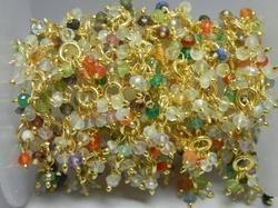 Multi Stone Wire Wrapped Gemstone Flower Chain