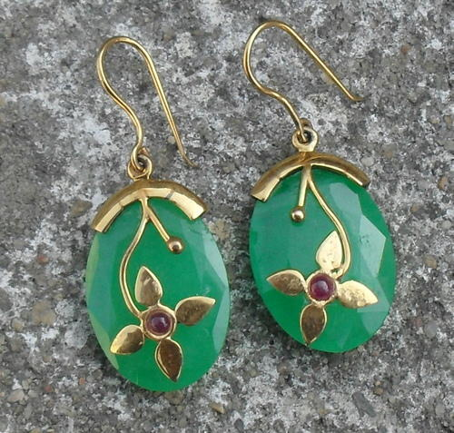 9k Yellow Gold Gemstone Earring