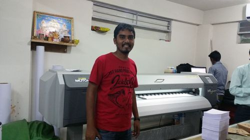 Mr. Ravi Kumar from Bangalore for successful installation of Mutoh ValueJet 1604 EcoSolvent Printe