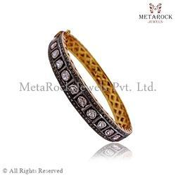 Polki Diamond Rose Cut Gold Bangle