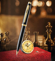 sheaffer ball pen with table clock gift set