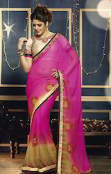 Georgette Wedding Wear Fancy Embroidery Printed Saree, 6.3 m (with blouse piece)