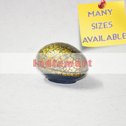 Paper Mache Golden Flowers on Black Floral Egg Shaped Box