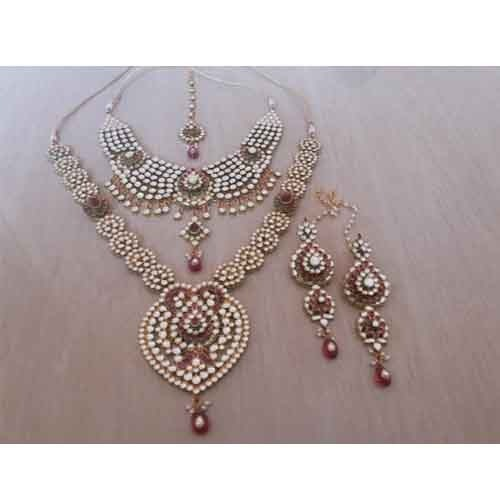 Bridesmaid Necklace Set | Complete Bridal Jewelry Set 22k Gold Plated Kundan Jewellery