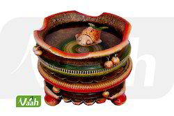 Vaah Terracotta Painted Home Decor Lotus Bowl with Stand