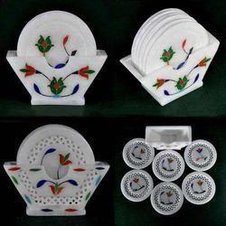 Marble India Inlay Coaster Set - Ethnic Tableware