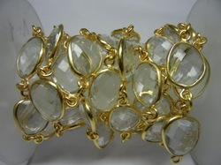 Gold Plated Crystal Quartz Bezel Station Chain