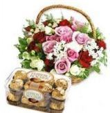 Rose Basket With Ferrero Rocher