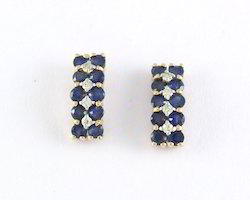 14K Gold Sapphire Diamond Hoop Earrings