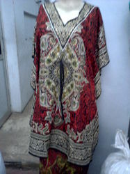 Embroidered Long Red Kaftan
