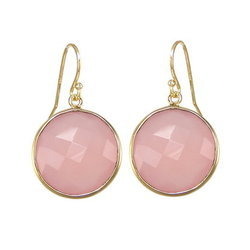 Pink Chalcedony Faceted Round Bezel Set Earrings