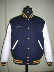 Casual Jackets Leather Navy White Varsity Jacket