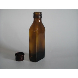 Flat Amber Glass Bottles