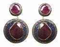 Designer Sapphire Pave Earrings, For Earring
