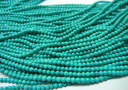 Synthetic Green Turquoise Faceted Roundel 3-4mm Bead Strands