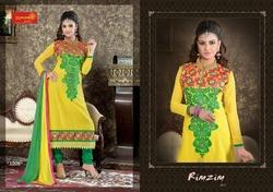 Unstitched Yellow Churidar Suit With Dupatta