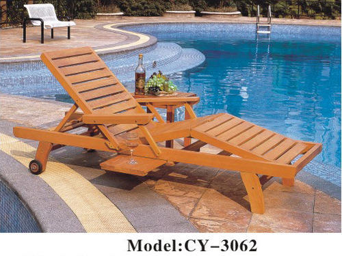 Beau Wooden Brown Pool Chair, Size: 1900x650x320 Mm