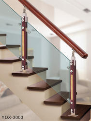 Railing With Combination Of Glass, Wood And Steel