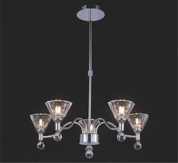 Neptune Telescopic Pendant 8 Light Chrome With Crystal Glas