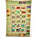 Cotton Multicolor Handmade Patchwork Elephant Kantha Quilt