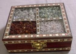 Wood Rectangle Wooden Gems Stone Box, for Storage