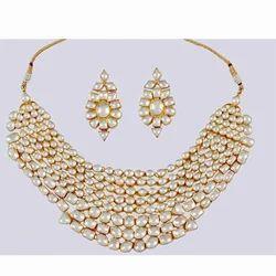 Glamorous Gold Plated Kundan Necklace Set Bollywood Bridal