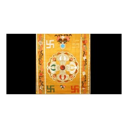 Yellow Eight Auspicious Symbols Brocade Fabric