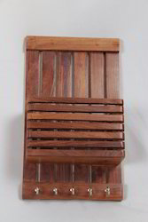 Teak Wood Letter Holder Cum Key Hanger