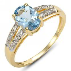 Aquamarine Stone Diamond Ring