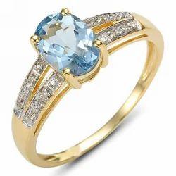 Aquamarine Stone Diamond Ring