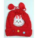Red Woolen Colorful Kids Winter Caps