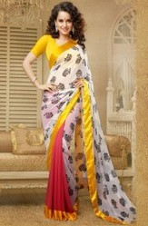 White Color Faux Georgette Designer Printed Saree