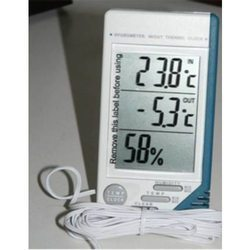 Thermo Hygrometer with Clock Digital Temptec