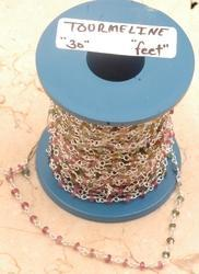 Silver Beaded Chain with Tourmaline Cut Stone