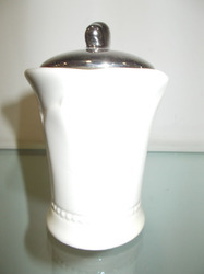 Ceramic with Silver Lid Candle