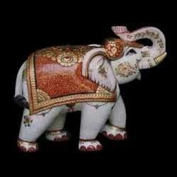 Colorful Marble Elephant Statue