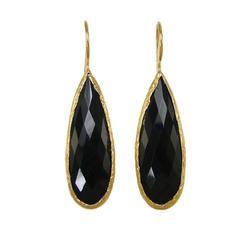 Black Onyx Pear Shape Bezel Gemstone Earrings