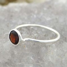 Garnet Gemstone Silver Ring