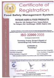 ISO 22000 : 2005 Certified Company