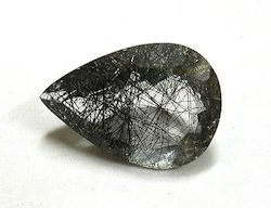 Black Rutile Cut Stone