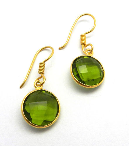 Sterling silver with 18k gold plate cut oval GREEN PERIDOT earrings Gift bag.