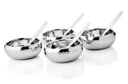 Jayna Steel Silver Soup Bowl Double Wall Hammered, For Restaurant, Size: Standard